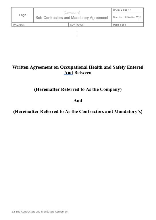 Sub-Contractors and Mandatory Agreement