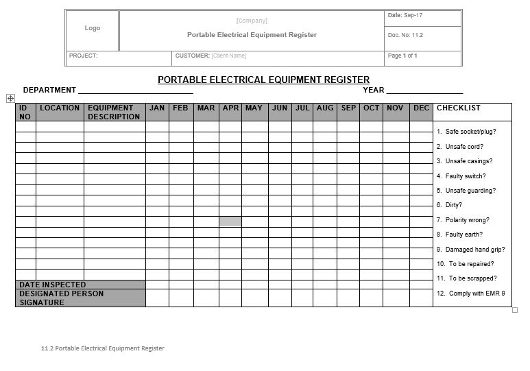 11.2 Portable Electrical Equipment Register