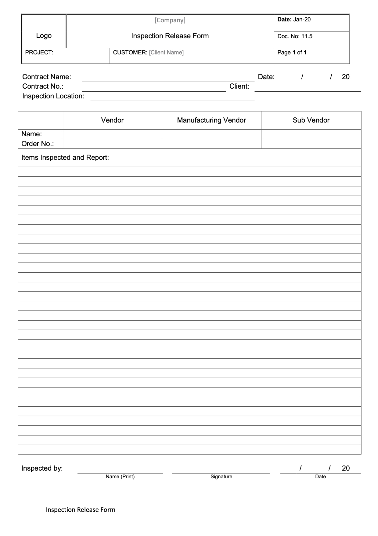 CT006 - Inspection Release Form