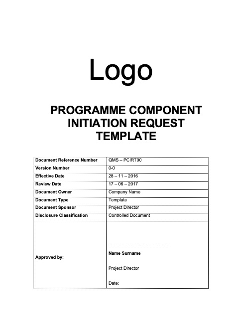 Component Initiation Request Template Rev 0-0