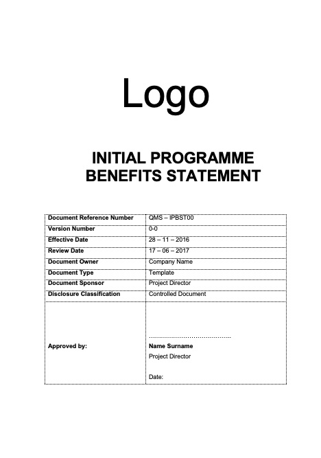 Initial Programme Benefits Statement Template Rev 0-0